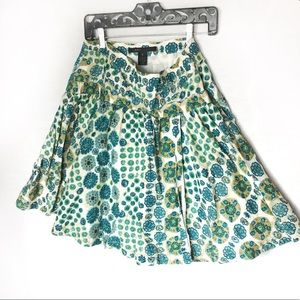 Marc Jacobs Green and Blue floral flare skirt